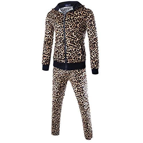 Herren Langarm Anzüge Mann Junge Leopardenmuster Herbst Patchwork Sweatshirt Tops Hosen Sets Sport Sets Mit Taschen Moonuy - Armani Kinder Kleidung