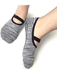 Chaussettes de yoga Elking et pilate Grip Barre antidérapantes en coton Dance, Sport en tout genre pour femme (Gris, One size)