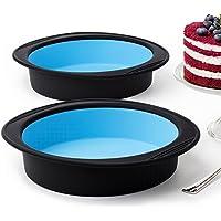 Lote de 2 moldes redondos para horno, grandes, ideales para bizcochos y pasteles, de silicona gruesa de color negro y azul