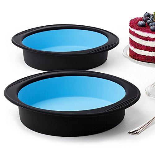 Silikon backform kuchenform rund silikonform springform pie torten Kuchen Tortenbodenform brotbackform tortendeko antihaftbeschichtet silicon - Set mit 2