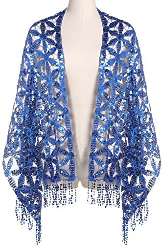 ArtiDeco Damen Umschlagtücher für Abendkleid 1920s Retro Schal Hochzeit Party Braut Schal Gatsby Kostüm Accessoires (Blau)