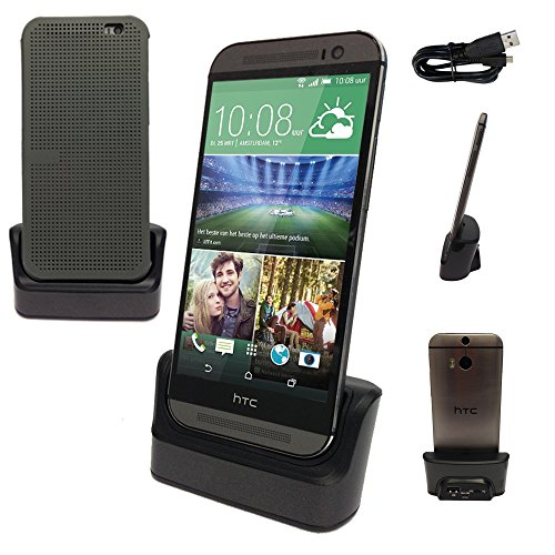 TECHGEAR® HTC One M8/M8S/E8 Ladestation/Datentransfer/Synchronisation/Ständer, mit OTG Funktion Built in + USB Daten Transfer Kabel (Htc M8 Dot View Case)
