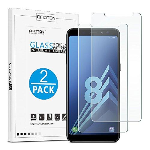 [2 Stück] OMOTON Panzerglas Schutzfolie für Samsung Galaxy A8 2018, Anti- Kratzer, Bläschenfrei ,9H Härte, HD-Klar, [2.5D R&e Kante]