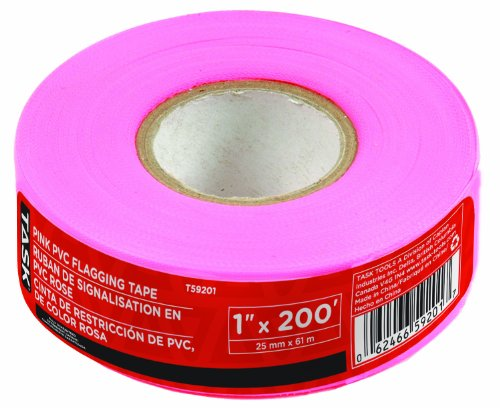 TASK TOOLS T59201 1-INCH PINK PVC FLAGGING TAPE BY TASK TOOLS