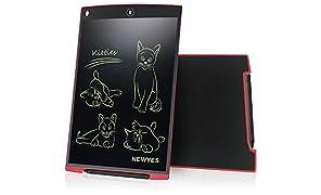 LCD Tablette d'écriture graphique dessin - NEWYES - 12 pouces Ewriter LCD Tablette d'écriture Bon Marché Mémo Pad magnétiques bloc-notes Notepad comprend 1Stylo 2 Aimants (rouge)