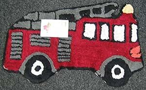 Tapis enfant-tapis de bain - 100%  coton-Garçon fille en forme de pompier Tapis de sol Chambre Tapis-Gris/Noir-Blanc-Rouge vin-Excellente idée cadeau