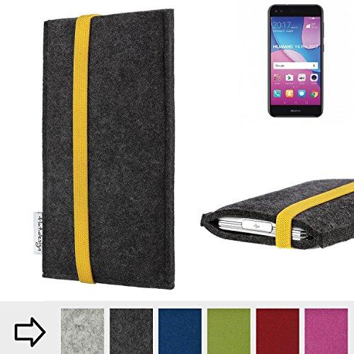 Handytasche COIMBRA mit gelben Gummiband-Verschluss für Huawei Y6 Pro 2017 Dual SIM - Schutz Case Etui Filz Made in Germany in anthrazit gelb - passgenaue Handy Hülle für Huawei Y6 Pro 2017 Dual SIM