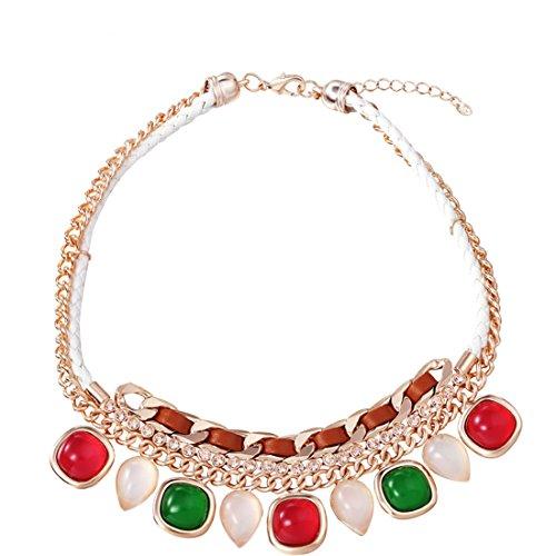 Neoglory Jewellery Halskette mit Swarovski® Elements KC Gold Harz Tropfen weiß rot (Kostüme Kc)