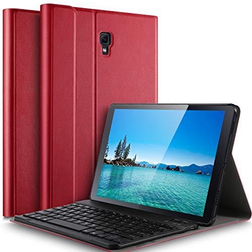 IVSO Tastatur Hülle für Samsung Galaxy Tab A 10.5 SM-T590/T595,[QWERTZ Deutsches], magnetisch abnehmbar Tastatur für Samsung Galaxy Tab A SM-T590/SM-T595 10.5 Zoll 2018, Rot