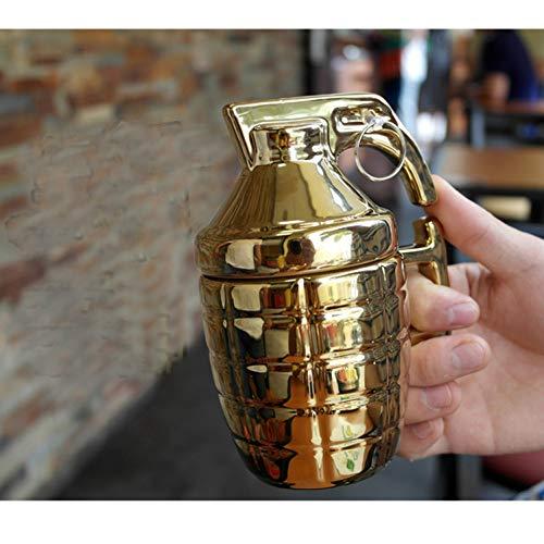 Erjialiu Kaffee Mine Becher Mit Deckel Löffel Peasonality Milch Teetasse Home Office Wasser Drink Küche Porzellan Novel Boy Geschenke,Stil 2,Gold