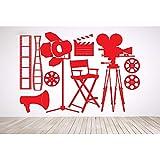 Sticker mural vinyle Art autocollant film caméra équipement ensemble vidéo film studio décor à la maison sticker mural affiche B 57 * 84 cm