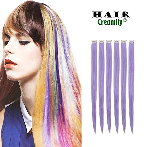 creamily 12pieces von Licht lila 50,8 cm Zoll mehrfarbig Party Highlights Clip in Kunsthaar Extensions