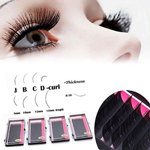 Yukong falsche Wimpern, 1 Box Hand Made Black Lashes Pro Curl B C D Set Individual Eyelash Extension (C8mm, schwarz)