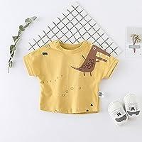 ZZ Camisa de cocodrilo de los Niños de Verano de Marea Infantil de Manga Corta Cuello Redondo Que Basa la Camisa,Amarillo,100cm