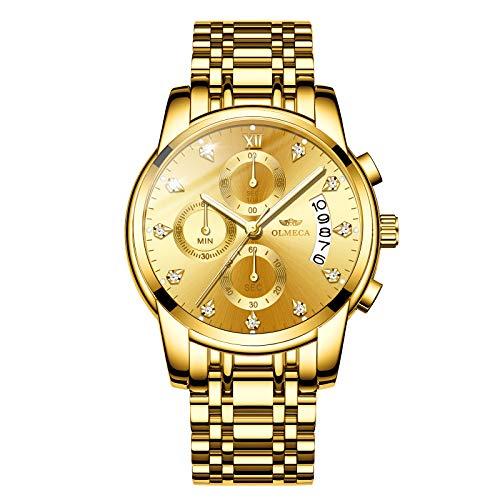 Olmeca uomo orologi di lusso orologi da polso impermeabile moda orologio al quarzo cronografo in acciaio INOX per uomo (A-oro)