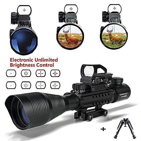 Lunette de visée avec Pistolet Bipied, UMsky Portée Rifle optique 4-16x50mm Avec Lumineux De Réticule Optique Rouge Vert portée Illumination double avec holographique airsoft Fusil tactique (Scope a)