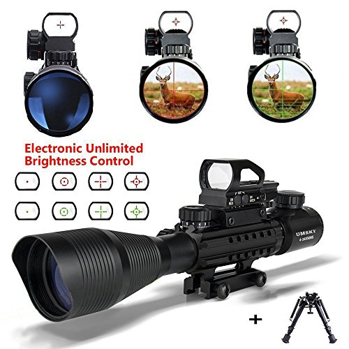 Rifle Pistolas de aire con Bipod, UMsky C4-16x50 Airsoft Alcance Rojo y Verde Mil-Dot Iluminado Range Finder Reticulo y Multi Optical Coated Holographic Dot Sight Optics (Scope a)