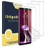 UniqueMe [3 Stück] schutzfolie kompatibel für Samsung Galaxy S9 Folie, [Wasserlos Installation] [Fingerabdruck verfügbar] Flexible Soft HD TPU Clear Bildschirmschutzfolie mit lebenslanger Ersatzgarantie