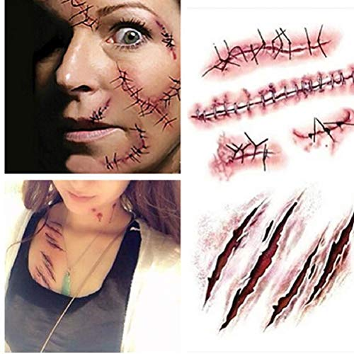 Halloween Zombie Wound Scars Tattoos mit gefälschtem Schorf blutigen Make-up Dekoration Scary Blut Injury Sticker Partei DIY Dekorationen