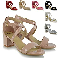 a259e9da492c3 Womens Strappy Sandals Block Mid Low Heel Ladies Ankle Strap .