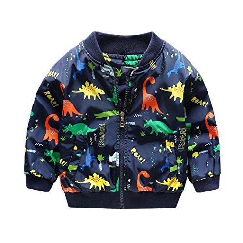 Amlaiworld Baby Langarm Dinosaurier Drucken Jacke Jungen Mädchen Mode Locker Mäntel Cool Warm Pullis,1-6 Jahren (Blau, 5 Jahren)