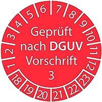Prüfplakette - geprüft nach DGUV Vorschrift 3 2018-2023 ROT 30mm / Prüfetikett/Prüfaufkleber selbstklebend