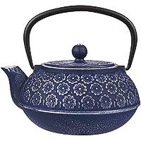 Théière bleue en fonte à motif floral avec filtre en acier inoxydable - Volume 1L