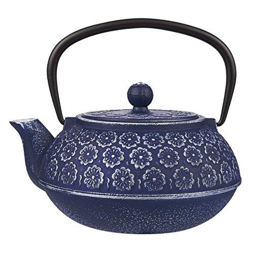 Théière bleue en fonte à motif floral avec filtre en acier inoxydable - Volume 1 L