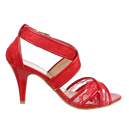 Damen Schuhe, DM1491-6, SANDALETTEN HIGH HEELS PUMPS Rot