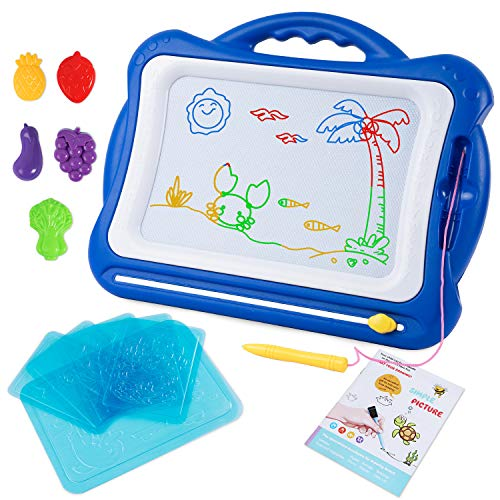 Sgile grande lavagna magnetica per bambini, lavagnetta magica portatile cancellabile con schede schizzo e album, giocattoli educativi, regalo di natale per bambini 3 4 5 anni (blu)