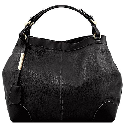 Tuscany Leather Ambrosia Borsa in pelle morbida con tracolla Blu scuro Nero