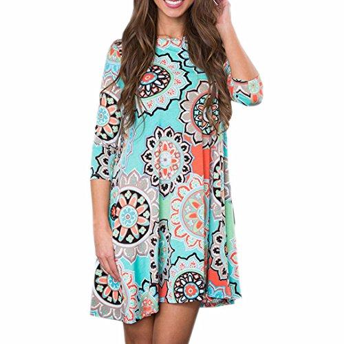 TUDUZ Frauen Sommer Vintage Boho Maxi Abend Party Kleid Elegant Strand Große Größen Blumenkleid (Blau, M)