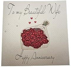 Idea Regalo - WHITE COTTON CARDS WB216 - Biglietto di auguri realizzato a mano, buon anniversario alla mia bellissima moglie (To My Beautiful Wife Happy Anniversary), con bouquet [lingua inglese]