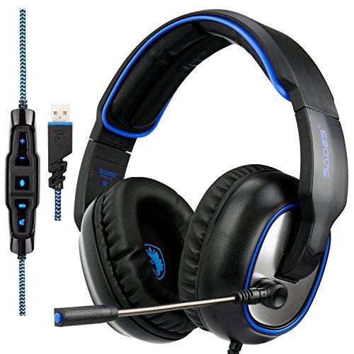 Sades R7 Gaming Headset, USB-Headset Stereo Over-Ear-Kopfhörer-Gaming unterstützt Virtual 7.1-Kanal Surround Sound mit Ausziehbares Mikrofon EQ Bass Boost Button LED-Hintergrundbeleuchtung für Laptop PC & MAC (schwarz) (Außerhalb Surround-sound)