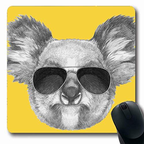 Luancrop Mousepads Gefahr Coole Koala-Sonnenbrille Handdrawn Natur-Skizze Netter Zeichnungs-Entwurf rutschfeste Spiel-Mausunterlage Gummilangmatte