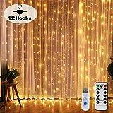 Nurkoo Nurkoo Lichtervorhang 3x3 M 300 LEDs Mit 12 Haken Lichtvorhang USB 8 Modi Lichterkette Wasserfall IP65 Wasserdicht Lichterkette Aussen für Die Dekoration Fenster Party Wand Hochzeit Weihnachten
