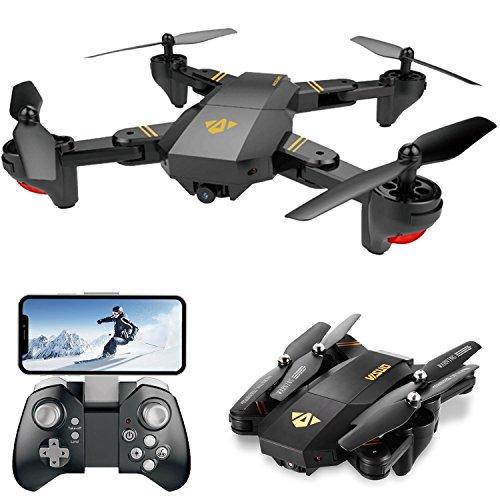 FPV RC Drohne mit Kamera, Live Video, VISUO XS809HW WiFi Quadcopter mit 720P HD 2MP 120 ° Weitwinkelkamera Höhenstand, Headless-Modus, One Key Return, APP-Kontrollspielzeug für Kinder und Anfänger (Hd Kamera Video Mit Quadcopter)