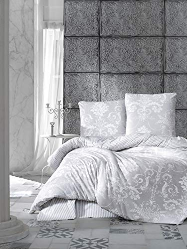 ZIRVEHOME Bettwäsche 200x220 cm, 2 Kopfkissenbezüge 80x80 cm, Alone V1 Queen Size, 100% Baumwolle-Renforce mit Reißverschluss (Bettwäsche Und Bettwäsche)