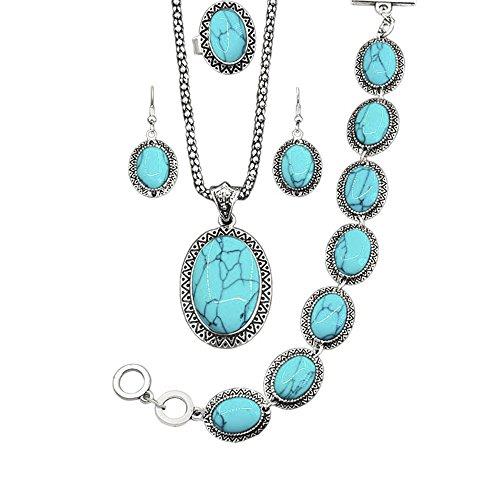 MESE London Blaue Vintage Stones Halskette mit Armband und Ohrringen 'The Eldersoul' in Luxus Geschenkbox (Blau Halskette London)