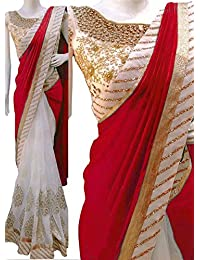 Isha Enterprise Women's Paper Silk With Georgette Off White And Red Thread Work With Sequence Work Designer Saree