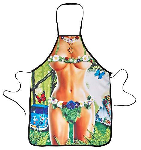 Das Kostümland Hippie Girl Grillschürze für Damen - Kochschürze Funerotik Gartengrillparty Kochabend Junggesellenabschied