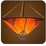 Orientalische Lampe Hängelampe marokkanische Deckenlampe Hänge Leuchte Hennalampe Lederlampe Fuego Orient 40 cm Color Orange