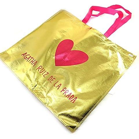 Gran bolsa de papel de regalo 'Agatha Ruiz De La Prada'dorado rosa.