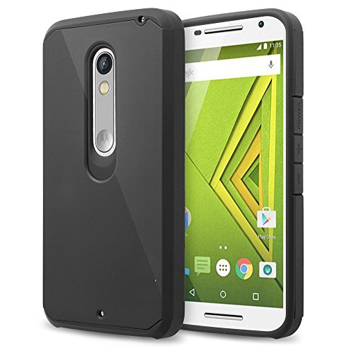Moto X Style Case,Ziaon (TM) Moto X style Case Luxury Tuff Super Armor Hybrid Shockproof Dual Layer Protective Cover for Moto X Style- Black