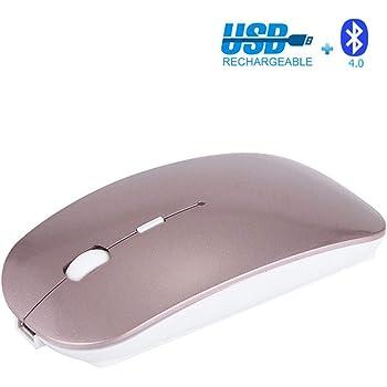 XuBa Slim - Ratón Bluetooth recargable ultrafino y silencioso para ordenador portátil, ordenador, tableta
