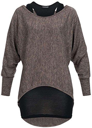 Violet Fashion Damen Fledermaus Shirt 2in1 hinten länger, fango braun melange fango braun melange