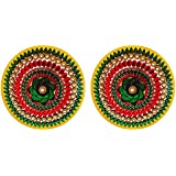 DollsofIndia Pair Of Rangoli Stickers - Dia - 9 Inches Each (RX06)