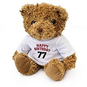 Feliz cumpleaños 77 - Oso de Peluche - Lindo Suave Cuddly - 77th Regalo