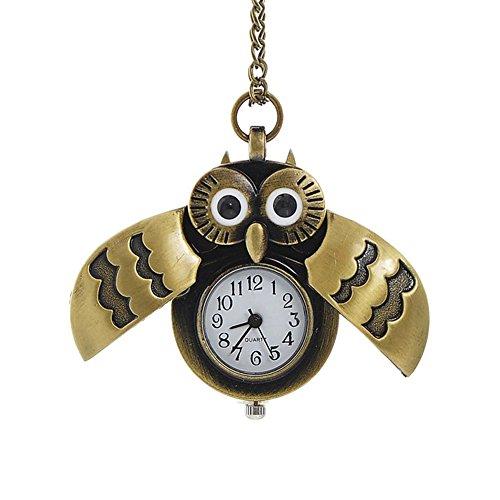 TrifyCore Reloj de Bolsillo del búho de Bronce con Collar de Cuarzo de Cadena Regalo de Padres Colgante Vintage