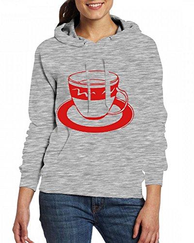 Custom Womens Hooded - Design A Cup of Coffee Tea Time Hoodies Grey